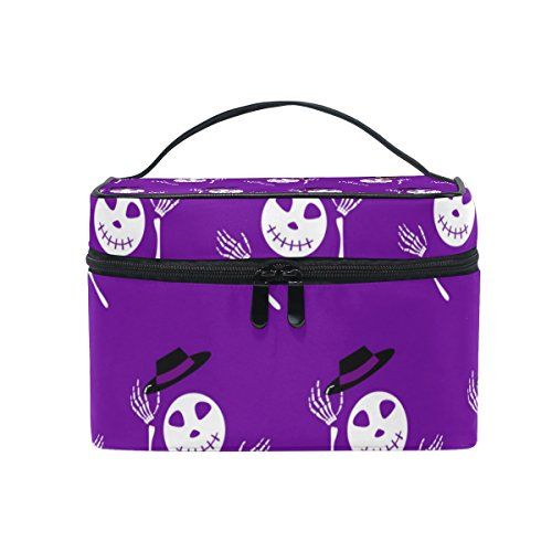 Portable Travel Makeup Cosmetic Bag Halloween Cartoon Skeleton With Hats Durable Toiletry Organizer Train Case for Women Girls -