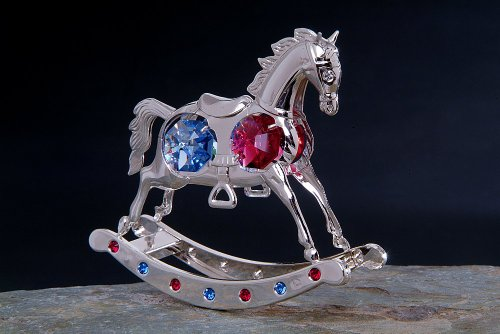 - Silver Chrome Plated Rocking Horse W/ Swarovski Crystals Blue & Red Figurine