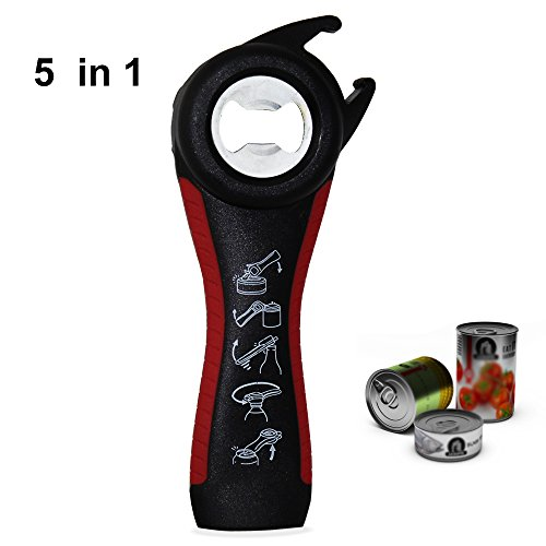 Multi Bottle Opener, Showshow Bottle Can Opener, Lid Twist Off Gripper, for Seniors Rheumatoid Arthritis (5 in 1)