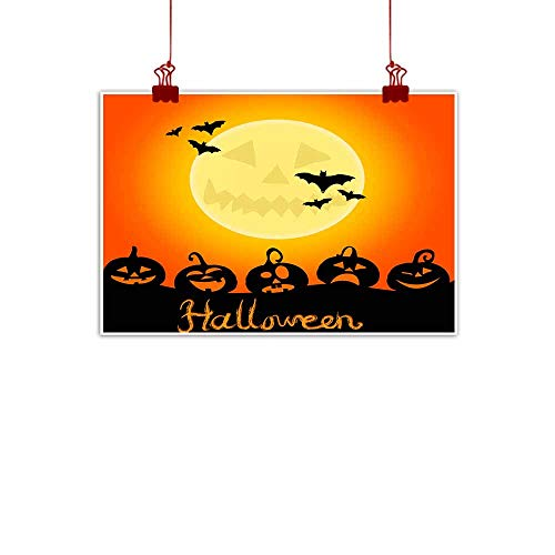 Mannwarehouse Living Room Decorative Painting Halloween Night Background with Pumpkins and The Full Moon Modern Minimalist Atmosphere 24