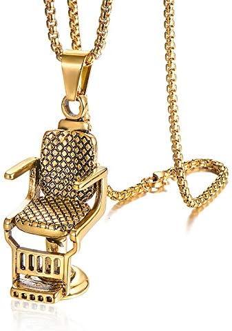 Hip Hop Rock Titanium Stainless Steel Barbershop Sofa Chair Pendants Necklace For Men Barber Jewelry Gold Color | Amazon.com