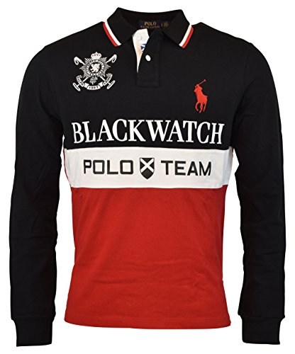 Polo Ralph Lauren Men's Custom Fit Blackwatch Big Pony Rugby Polo Shirt Black Multi - Polo For Ralph Men By Lauren