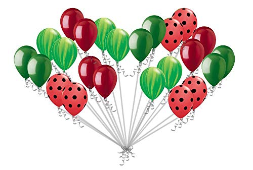 zorpia 24 pc Red Watermelon Inspired Latex Balloons Green Agate & Red Polka Dot Summer B6]()