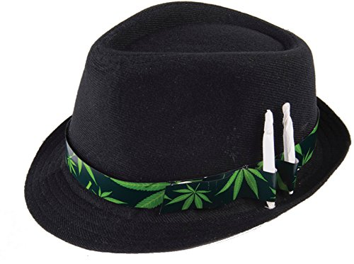 Cannabis Leaf Novelty Fedora Hat Black/Green