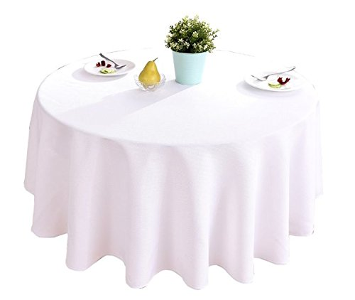 HIGHFLY Linen Round Tablecloth 60 inch Waterproof and Stain Resistant White Table Cloth for Dining Room ()