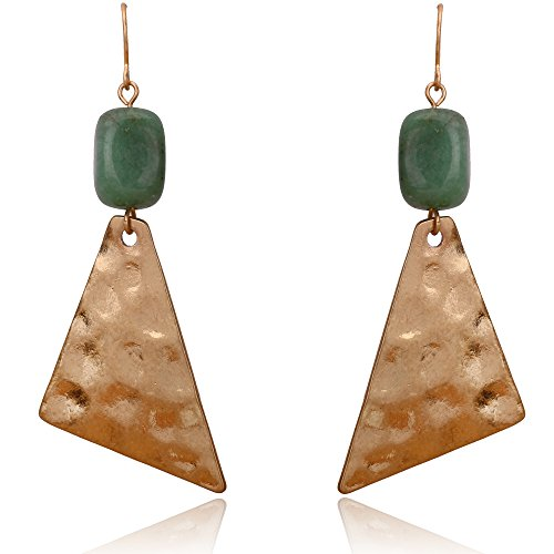 BEMI Cool Style 18K Gold Plated Long Dangle Earring with Natural Stone Party Drop Earrings for Woman