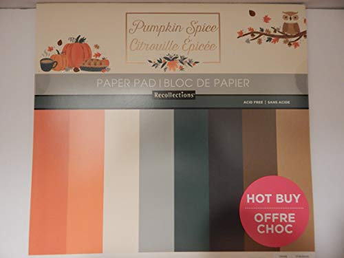 "Craft Smith Recollections Pumpkin Spice Fall Autumn Craft Smith Recollections Paper Pad 48 Sheets 12"" x 12"" Solid Colors Halloween Thanksgiving"