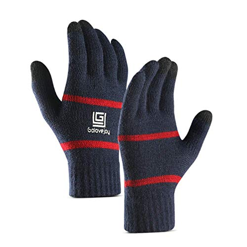 Yobenki Winter Knit Gloves, Non-Slip 3 Touchscreen Fingers Thinsulate Knit Gloves Mittens Warm Gloves with Warm Wool Lining (Blue, Free Size)