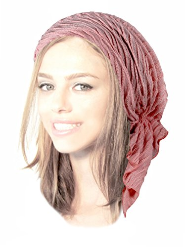 Leather Headwrap (ShariRose Boho Chic Pink Pre-Tied Head-Scarf Shimmer Breathable Knit Collection (Light Pink Sparkle Short - 408))