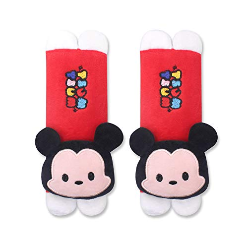 FINEX Set of 2 Tsum Tsum Plush Car Seat Belt Strap Covers Shoulder Cushion Pad (Red Mickey Mouse) (Blue Mickey Mouse Car Seat And Stroller)