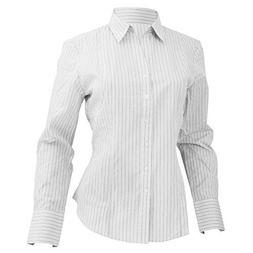 Brook Travener- Camisa Perano de manga larga para mujer Azul/Blanco a rayas