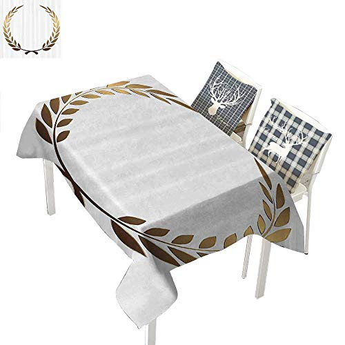 (WilliamsDecor Gold Holiday Tablecloth Ancient Circular Laurel Wreath with Interlocking Branches and Evergreen Leaves DesignGold White Rectangle Tablecloth W60 xL84 inch)