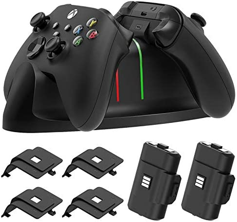 Charger Stand for Xbox Series X/S, Xbox-one/S/X/Elite Controller,MENEEA Fast Dual Charging LED Indicator Dock Station Accessories with 2 x 1100mAh Rechargeable Battery and Cover with Charging Cable