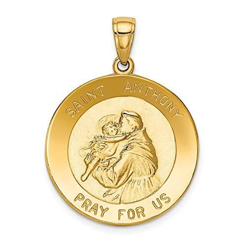 14K Yellow Gold Saint Anthony Large Round Medal Pendant
