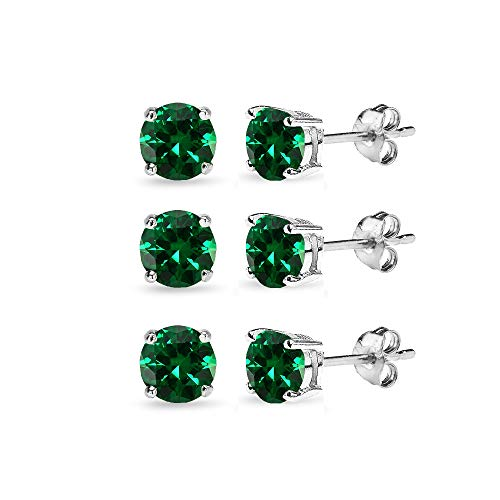 3 Pair Set Sterling Silver 6mm Simulated Emerald Round Stud Earrings for Cartilage (Round Emerald Earrings Set)