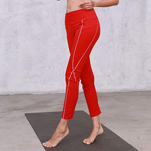 Donne Yoga Rosso Pantalone Tasche Con Dragon868 Donna Casual Pantalone Palestra Elastico 6BqwEt