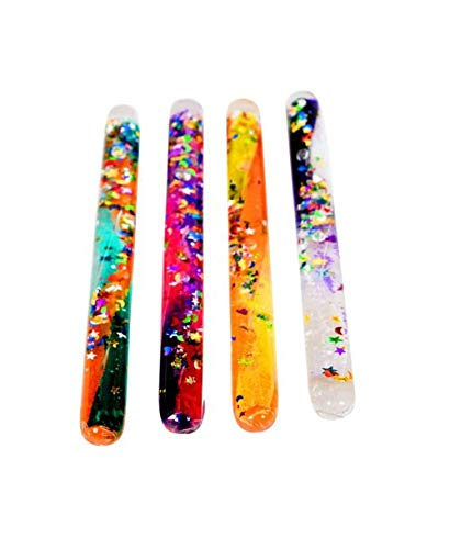 Playlearn Glitter Wand, Magic Wonder Tube - for Kids, Teachers, Therapists, Sensory Room, Classroom, Autistic, ADHD, SPD. Medium Size. 4 Different Multicolored Tubes. 6 Inch
