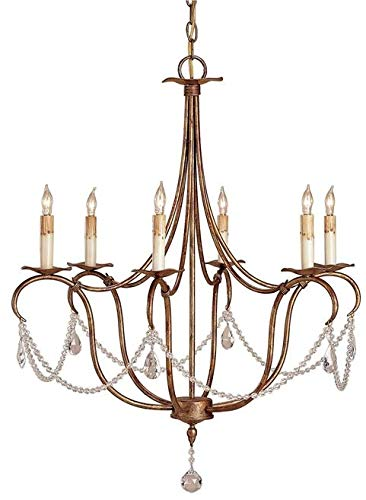 Currey & Company Chandelier Crystal 6-Light Rhine Gold Cord Drip On A
