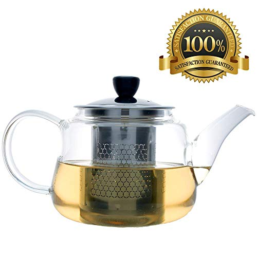 (Fearnley Glass Teapot - Loose Leaf Tea Pot with Stainless Steel Infuser - Handblown Glass - 24 oz / 700 mL )