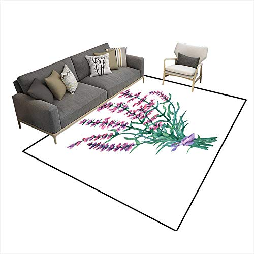 Washable Carpet Bouquet of Lavender Watercolor Handrawn Painting Illustration isolateon White backgroun 6'6