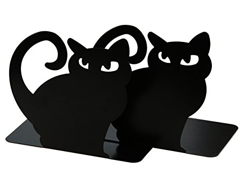 Cute Vivid Lovely Persian Cat Book Organizer Metal Bookends For Kids School Library Desk Study Home Office Decoration Gift (Black) by Apol (Image #1)
