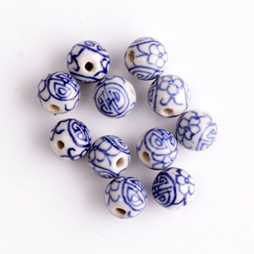 Round Porcelain Beads (Chinese Blue and White Porcelain Ceramic Round Spacer Beads Craft Finding Jewelry Making DIY)