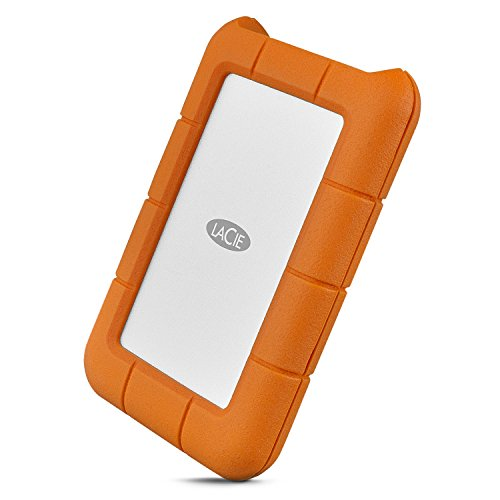 LaCie Rugged Secure 2TB External Hard Drive Portable HDD - USB-C USB 3.0 Drop Shock Dust Rain Resistant Computer Desktop Workstation Laptop Hardware Encryption, 1 Month Adobe CC (STFR2000403)