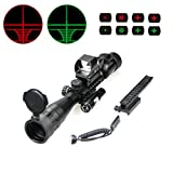 WANGPAI AR15 4 in 1 Combo Scope, 3-9x AO Rifle Scope with Holographic 4 Reticle Green & Red Dot Sight, for 22mm Multi-purpose Rail Mount, Black