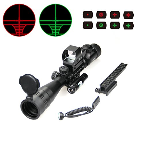 WANGPAI AR15 4 in 1 Combo Scope, 3-9x AO Rifle Scope with Holographic 4 Reticle Green & Red Dot Sight, for 22mm Multi-purpose Rail Mount, Black by WANGPAI
