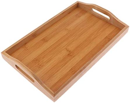 Wood Rectangular Tray Fruit Snack Dish Wooden Plate Tea Serving Tray