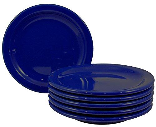 Dinner Plates with Pan Scraper, 6-Pack (6.5 Inch, Cobalt Blue) ()
