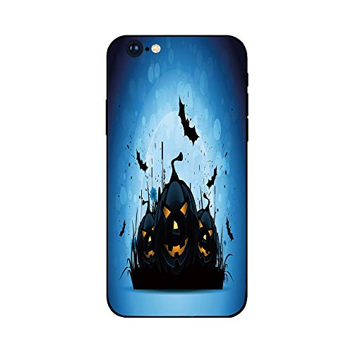 Phone Case Compatible with iphone6 Plus iphone6s Plus mobilephoneprotectingshell Brandnew Tempered Glass Backplane,Halloween,Scary Pumpkins in Grass with Bats Full Moon Traditional Composition -