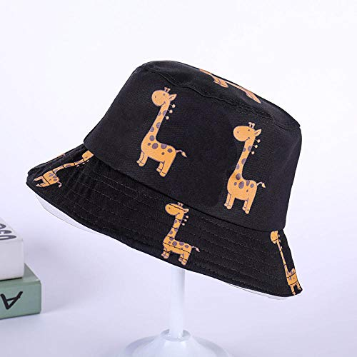 PGSDKD Sunhat Summer Fashion Giraffe Cotton Bucket Cap bob Man Woman Hip hop Fisherman hat Panama boy Girl Outdoor Sun hat Starting -