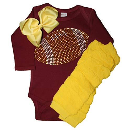FanGarb Baby Girl's Maroon & Yellow Football Team Colored Rhinestone Maroon Outfit 3-6mo -