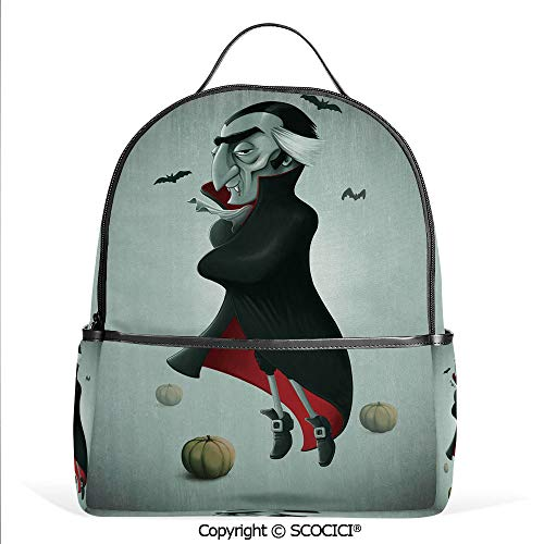 Lightweight Chic Bookbag Creepy Halloween Night Pumpkins and Old Vampire with Cape Flying Bats,Black Almond Green Red,Satchel Travel Bag Daypack