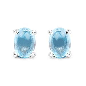 1.40 Carat Genuine Swiss Blue Topaz .925 Sterling Silver Earrings