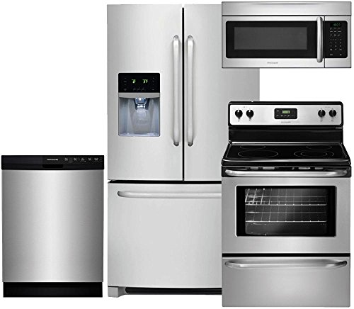 "Frigidaire 4-Piece Stainless Steel Kitchen Set, FFHB2740PS 36"" French-Door Refrigerator, FFEF3043LS 30"" Electric Range, FFBD2412SS 24"" Full Console Dishwasher, FFMV164LS 30"" Over-the-Range Microwave"