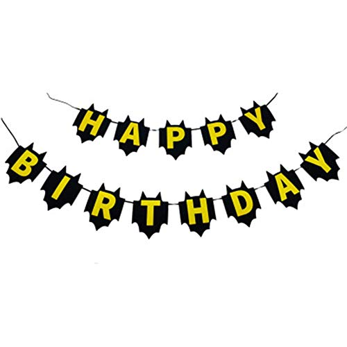 CaJaCa Halloween Batman Happy Birthday Bunting Banner, Birthday Party Decorations Favors and Party Supplies-Black -