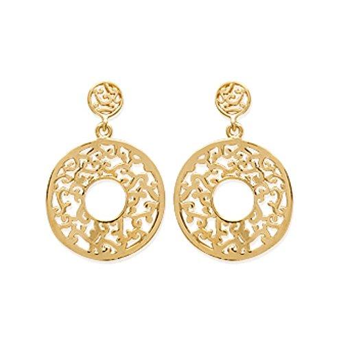 ISADY - Claria Gold - Boucles d'oreille - Plaqué or jaune 18K - Pendants - Vintage - Cercles