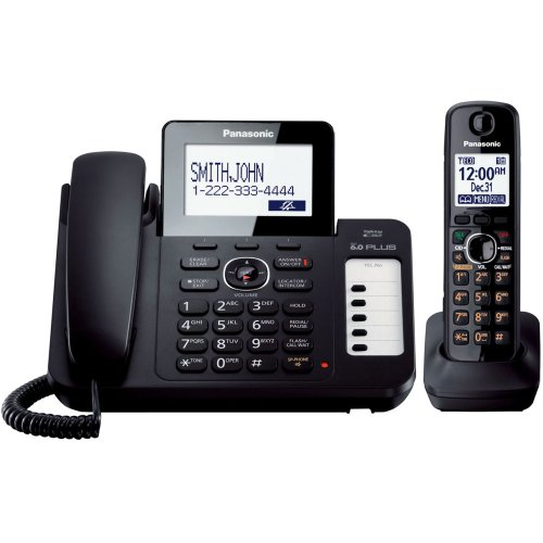 Panasonic KX-TG6671B DECT 6.0 Corded/Cordless Phone with Digital Answering System, Black, 1 Handset by Panasonic