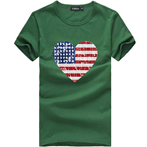 utda.sh-fs July 4th Women's Stripes Star Fashionable Loose American Flag Short-Sleeved Printed T-Shirt Top Blouse Independence (XL, Army Green)