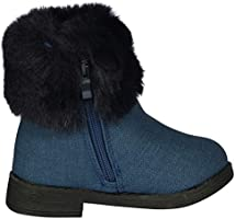 25fb5092de68c Nicole Miller New York Toddler Girls Faux Fur Trim Ankle Boot, Blue ...