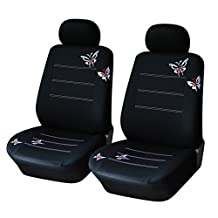 CL1001C4B51 Carline Butterfly Fabric 2 Front Car Seat Covers Compatible to Jeep Grand Cherokee Cherokee Renegade Wrangler Unlimited Wrangler Compass Patriot 2017-2007
