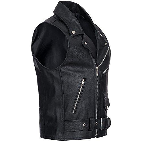 Moto cuero Motocicleta style o Negro para Chaleco hombre de Brando Leathers Moto Gaudi biker vWq6ff