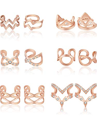 - Zhanmai Ear Cuff Set Stainless Steel Non Piercing Clip On Earrings for Women Girls Fake Lip Cartilage Helix Tragus Body Jewelry, 6 Pairs (Rose Gold)