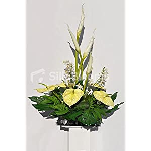 Beautiful Artificial Ivory Goddess Lily, Orchid and Lemon Anthurium Floral Table Arrangement 35