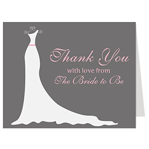 Simple Gown, Bridal Shower, Thank You Cards, Wedding Dress, Pink, Gray, Simply Stated, Thanks From the Bride to Be, Set of 50 Thank You Notes with Envelopes, FREE Shipping (Bridal Shower Thank You Cards)