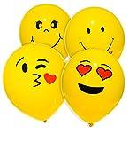 MESHA Latex Balloons 74PCS Emoji Smiley Face Balloons 10 Inch Yellow Party ...