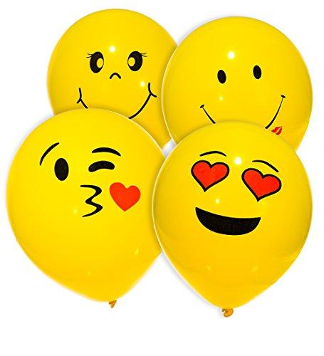 MESHA Latex Balloons 74PCS Emoji Smiley Face Balloons 10 Inch Yellow Party (Smiley Face Party)