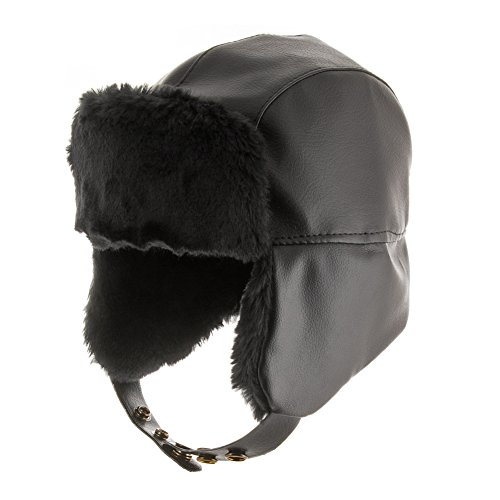 Black Vinyl Newsboy Hat (Street Trooper Ushanka Aviator Pilot Faux Leather Ski Trapper Hat BLACK 7 1/8)
